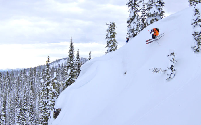 Snowcat skiing in the backcountry near Brundage Mountain.
