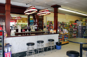 Soda fountain at the Corner Drug in Driggs.