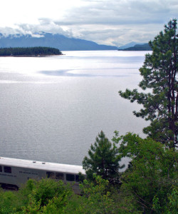 A train funneled through Sandpoint follows the lakeshore.