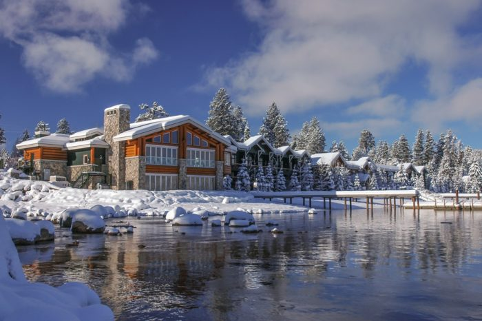Snow blankets the Shore Lodge in McCall.