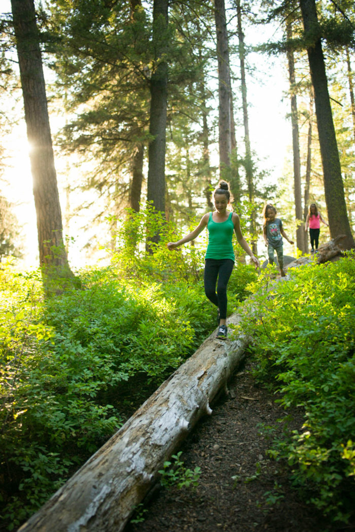 Kids walking on a log in a forest