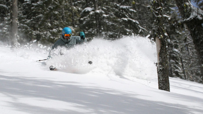 Skier charges through powder along the treeline at Soldier Mountain.