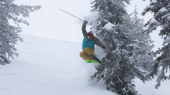 Skier flies over a bump, brushing a snow-covered pine tree causing a poof of powder.