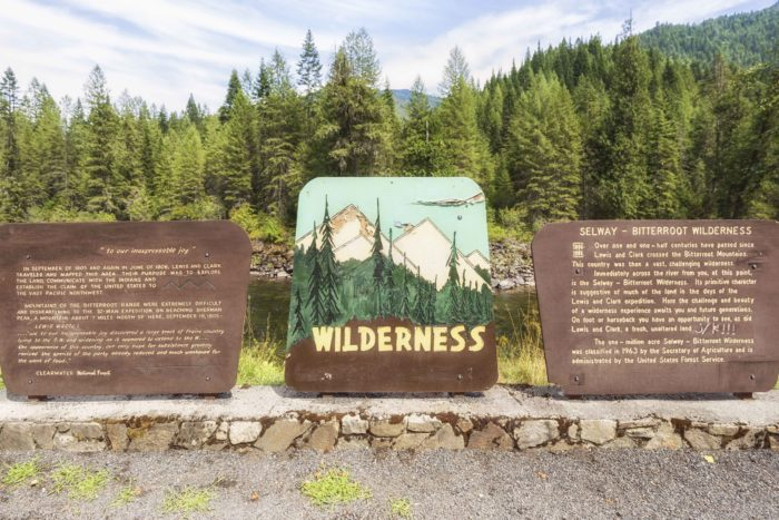 Educatinal signage about the Selway-Bitterroot Wilderness.