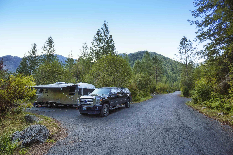 Airstream at campsite.