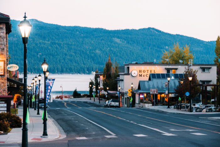 A view of downtown McCall as the sun sets.