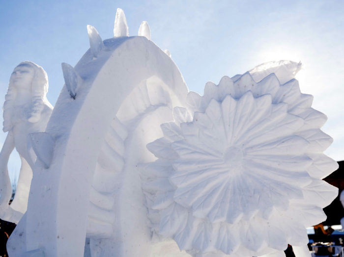 Enjoy snow sculptures at The Great Snow Fest.