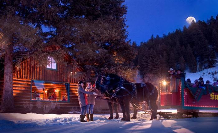 Preparing for a Sun Valley sleigh ride.