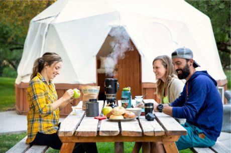 3 people enjoying breakfast near Miracle Hot Springs