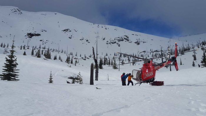 helicopter on snowy mountain
