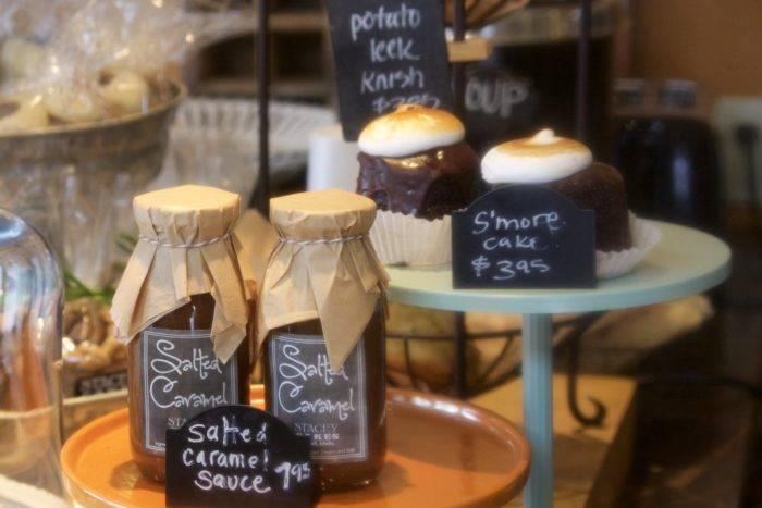 Bakery treats on display.
