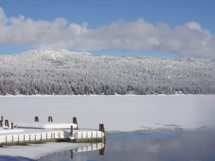 Sparkling snow covers Payette Lake.