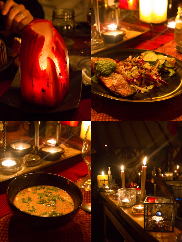 Collage: dinner service in the yurt.