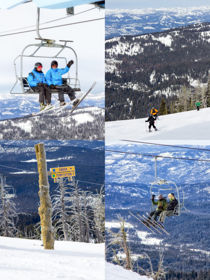 Collage, on the lift and on the mountain.