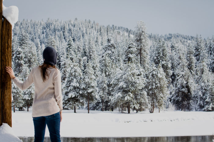 A girl looking out over a winter landscape.