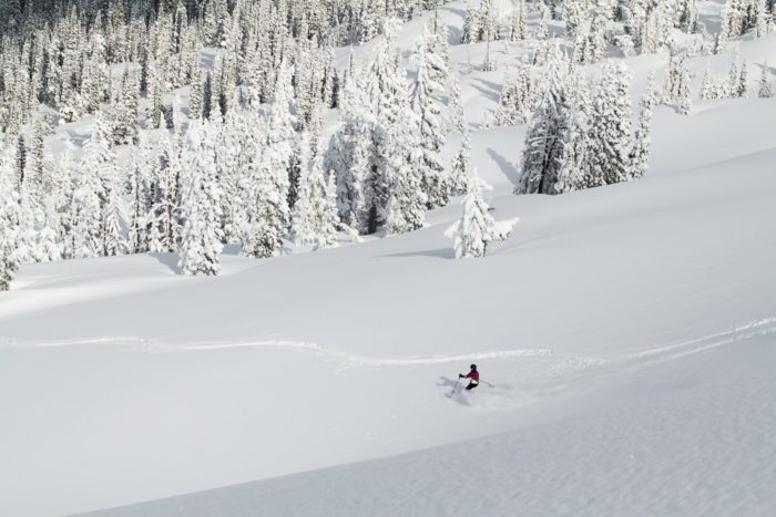 Backcountry skier at Brundage in untouched powder.
