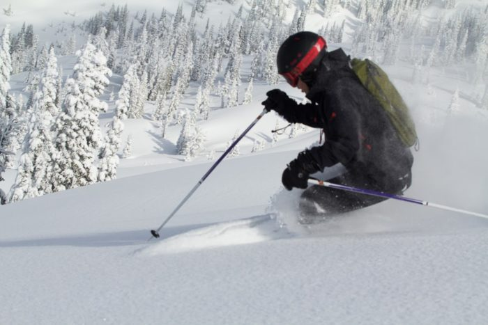 Backcountry skiing at Brundage.