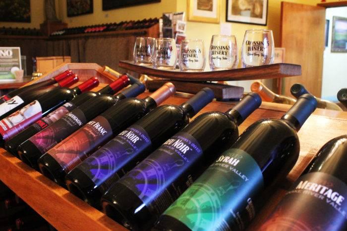 Wine display at Crossings Winery