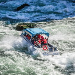 Jet boating in Hells Canyon over whitewater rapids. Photo Credit: Idaho Tourism
