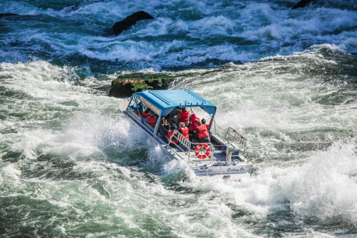 A jetboat cruising down a river.