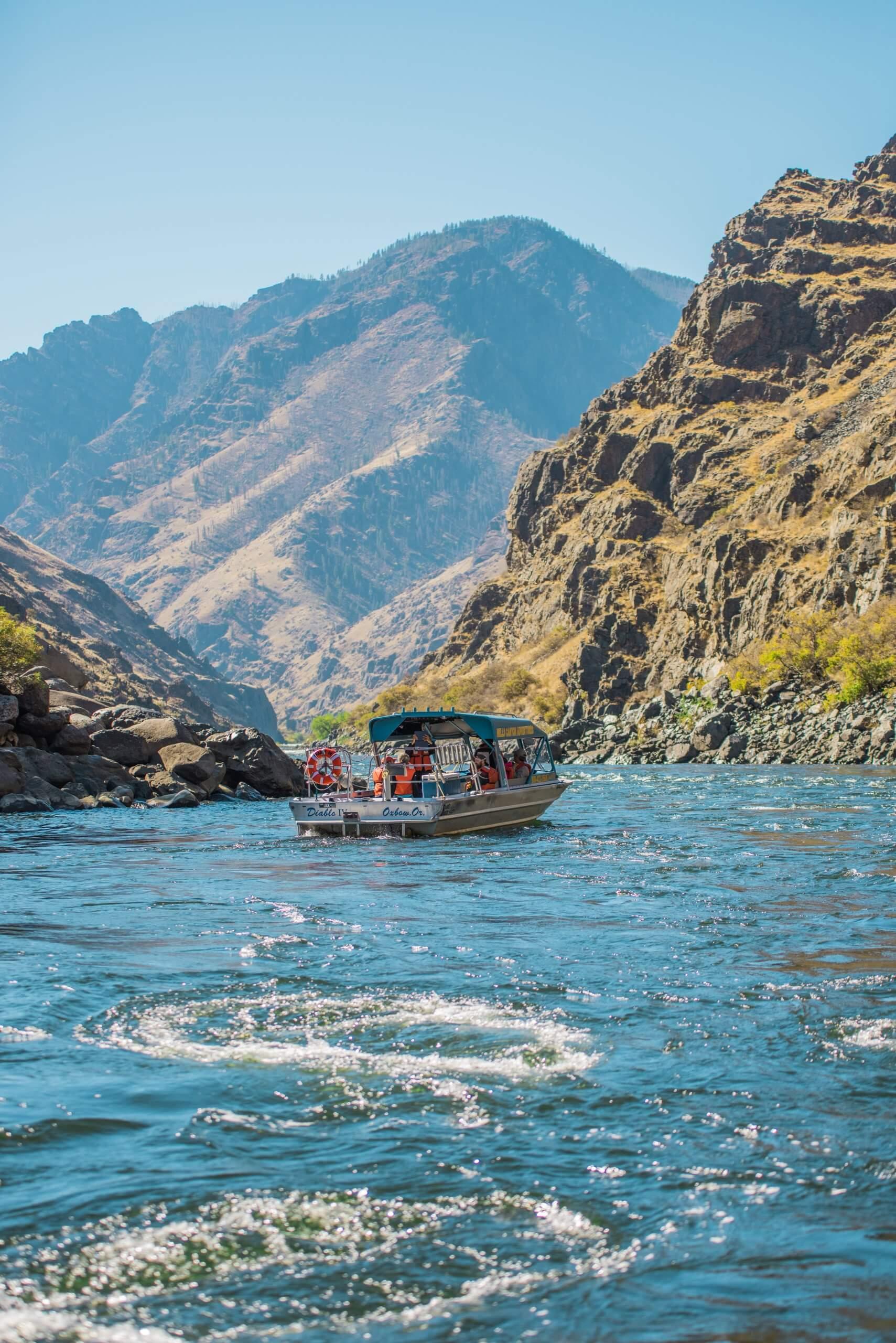 Jet Boating, Hells Canyon, Near Pittsburg Landing. Photo Credit: Idaho Tourism