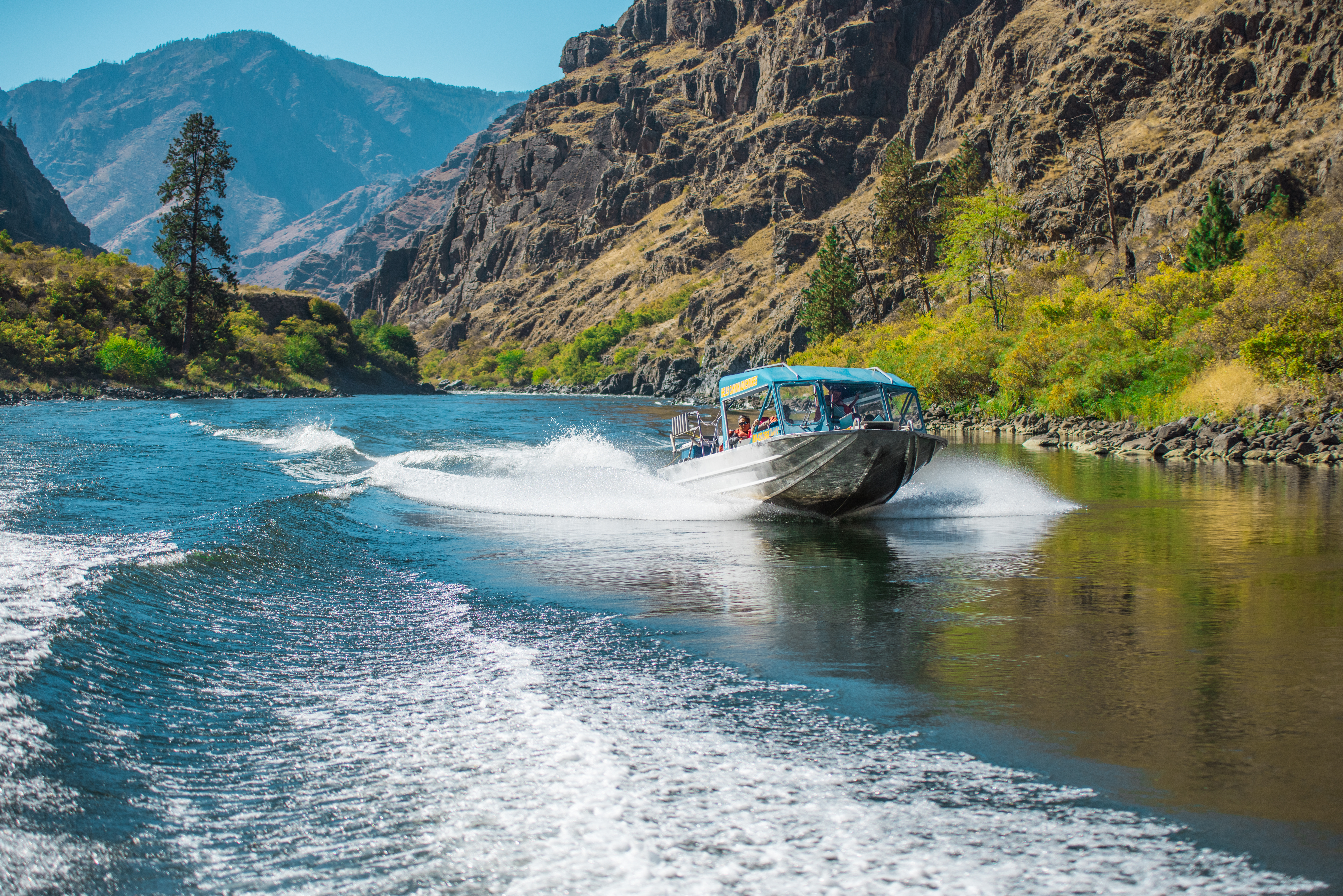 Jet boating in Hells Canyon. Photo Credit: Idaho Tourism