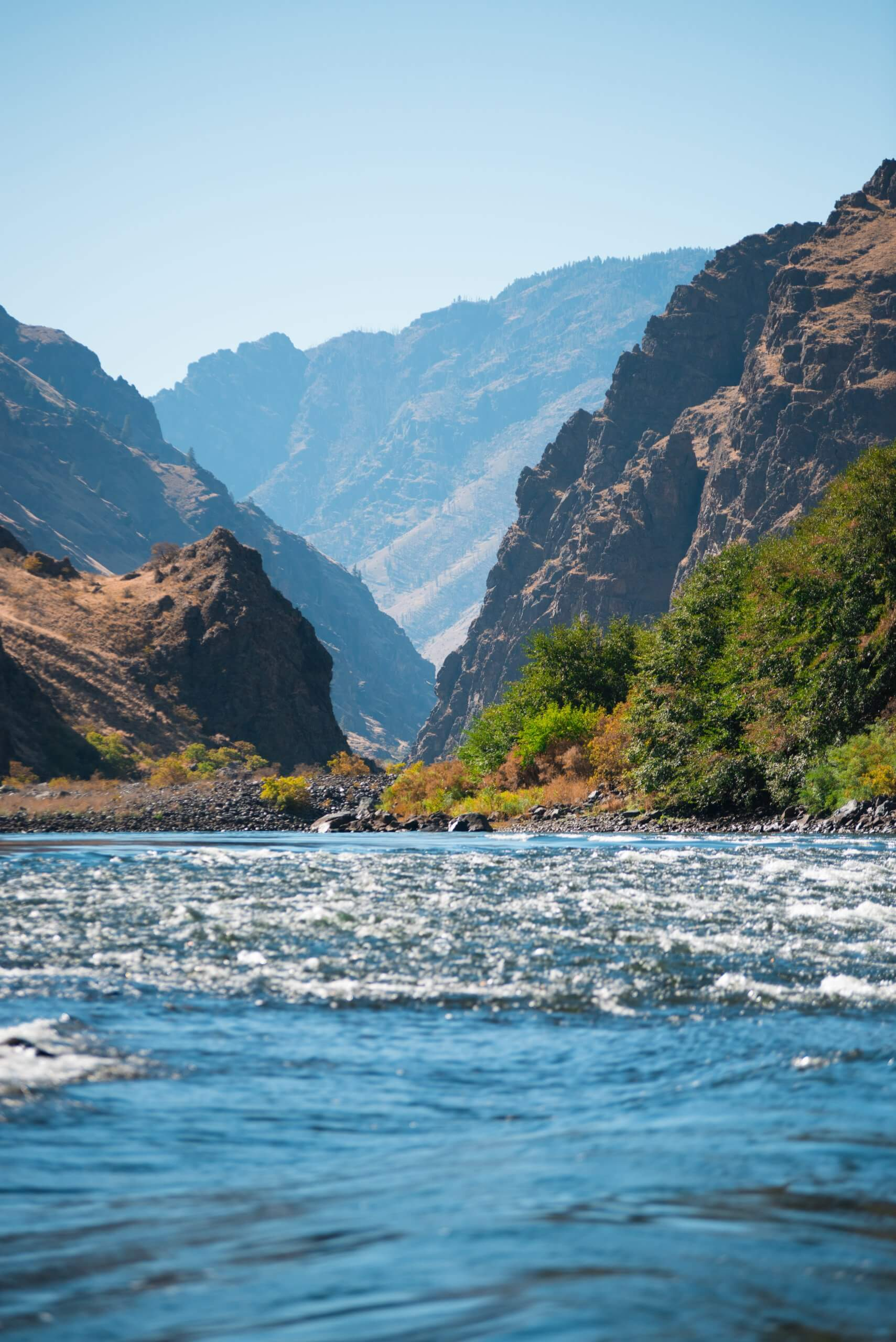 A view looking between the towering walls of Hell Canyon. Photo Credit: Idaho Tourism