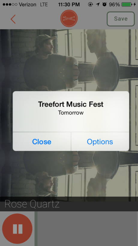 A cellphone notification reminding me of Treefort 2015