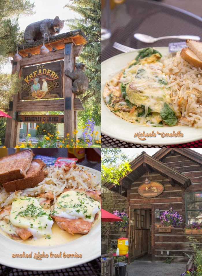 Collage: two plates filled with delicious breakfast items, the rustic building and signage