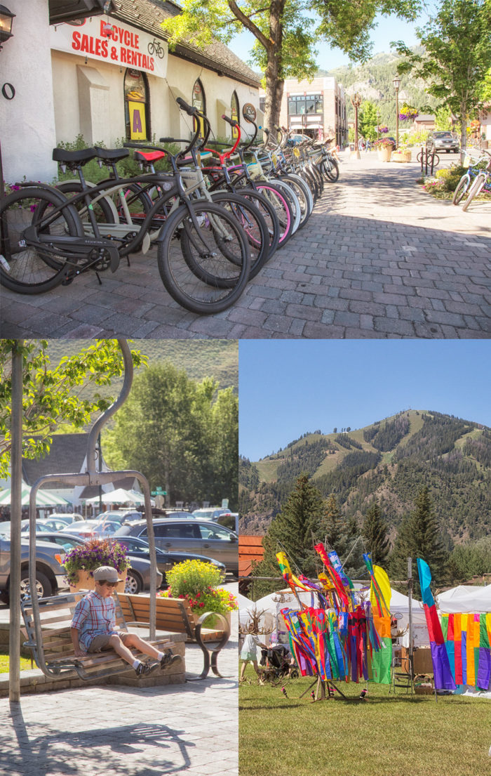 Collage: bikes, art festival with Sun Valley's Bald Mountain in background, child sitting on an old ski lift chair in a downtown park.