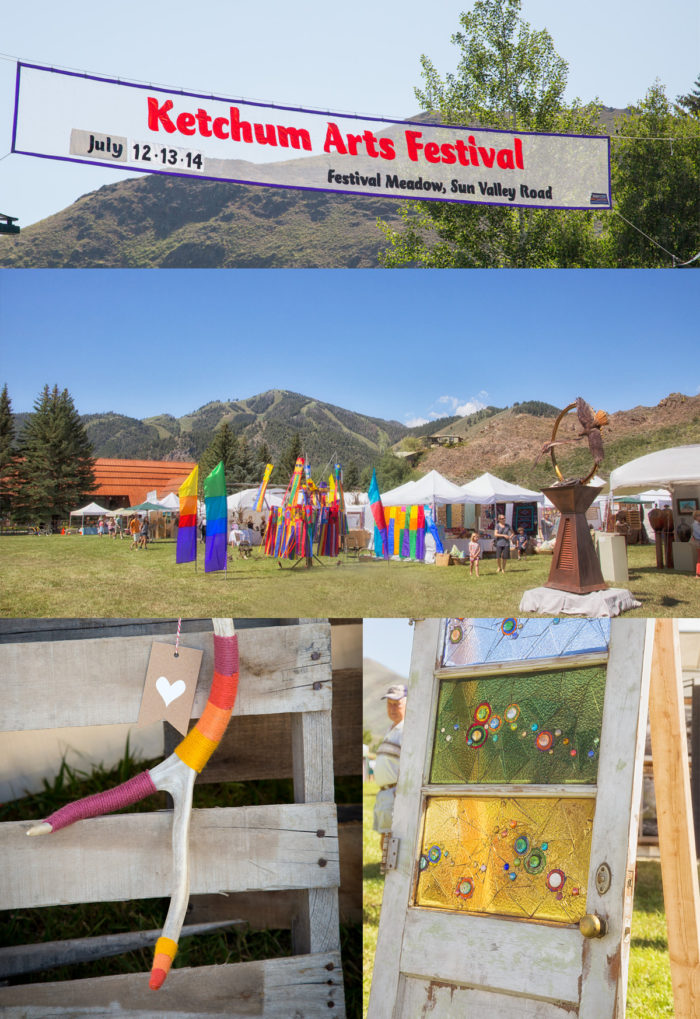 Collage: colorful banners, antler art and glassworks at the Ketchum Arts Festival.