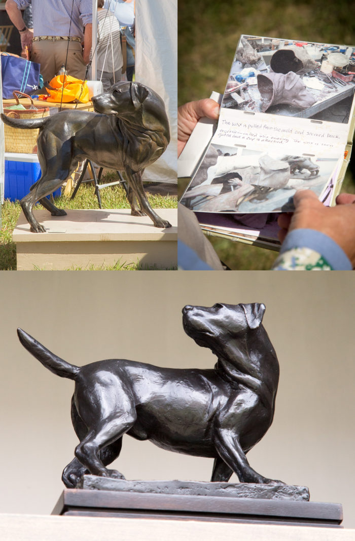Beautiful bronze statuary of pointers (dogs) at the Ketchum Arts Festival.