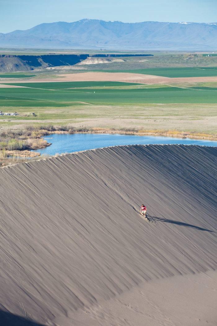 Man sandboarding down sand dune.