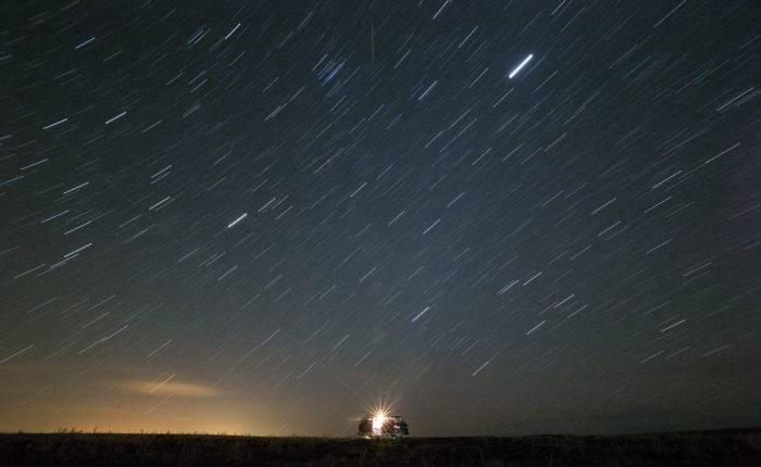 Stars over a van.