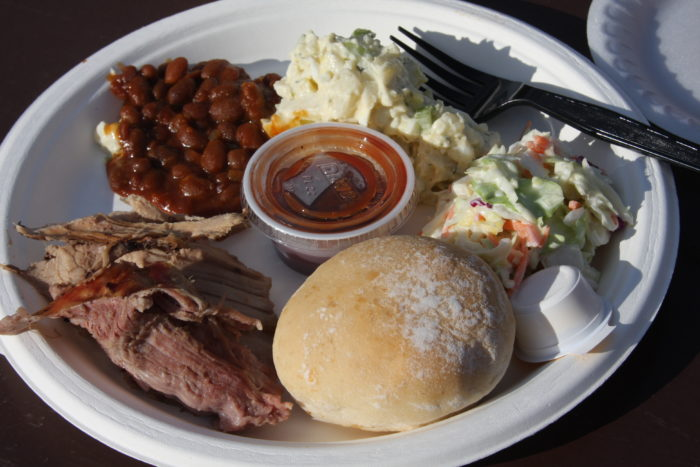 Plate of BBQ food.