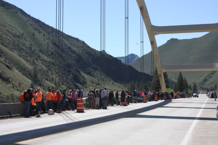 People gathered at Time Zone bridge.
