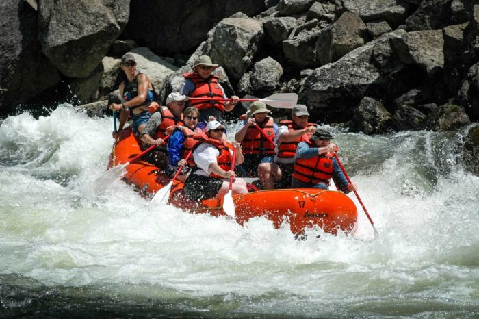 A family whitewater rafting.