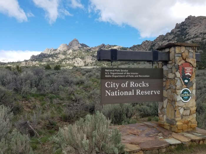 Entrance sign to City of Rocks National Reserve