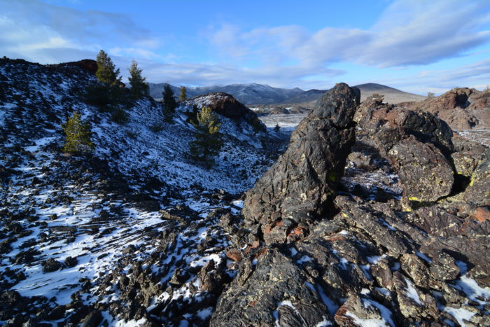 Snow covering jagged rocks
