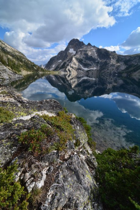 Reflection of mountains in Sawtooth lake