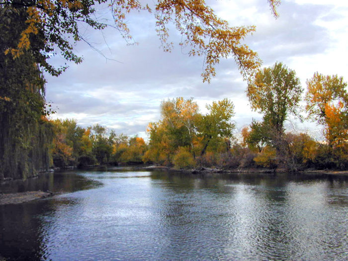 scenic shot of boise river at evening