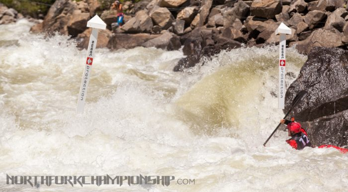 """Rush Sturges getting ready for the """"man surf"""" to gate 2 at Rock Drop in Jacob's Ladder during the North Fork Championship 2013. Photo Credit: Mike Leeds."""