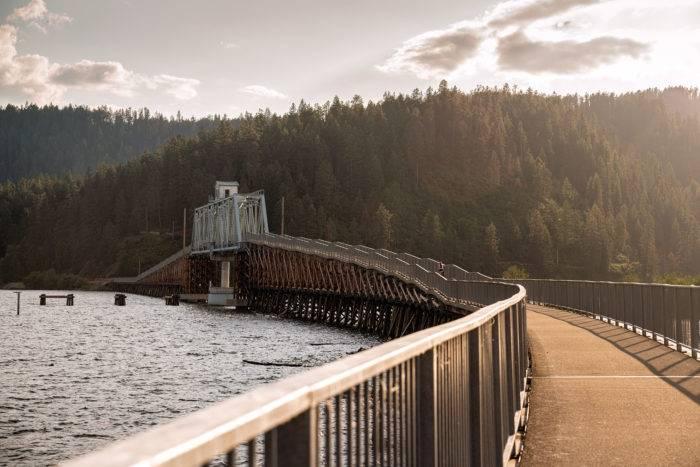 bridge at sunset.