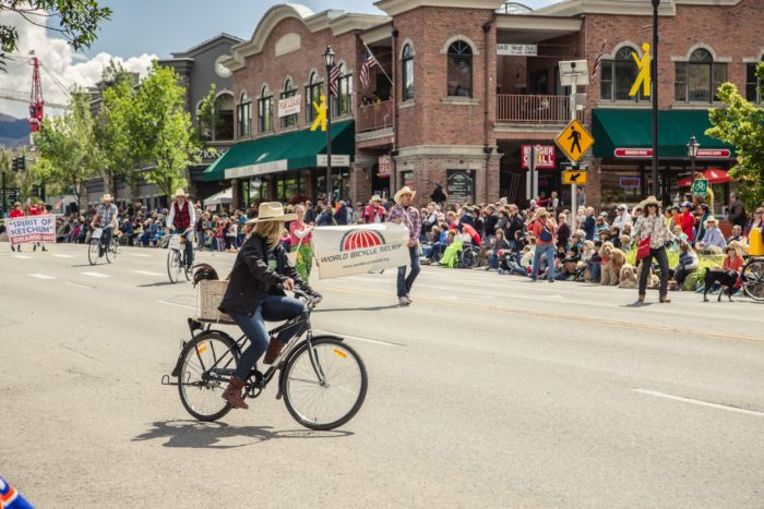 Bikers take to the streets of Ketchum to celebrate cycling and Rebecca's Private Idaho.