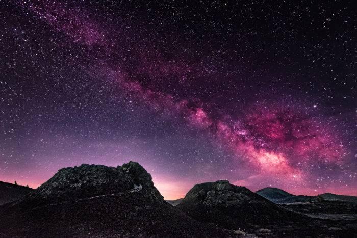starry sky behind spatter cones