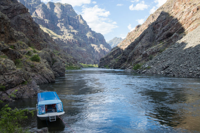 A jet boat sitting in Hells Canyon.