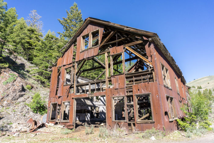 Old, rusted mining building.