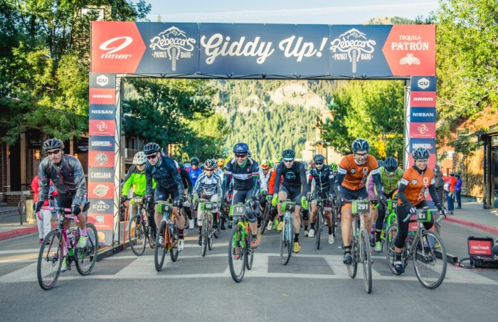 Line of riders beginning the Rebecca's Private Idaho ride.