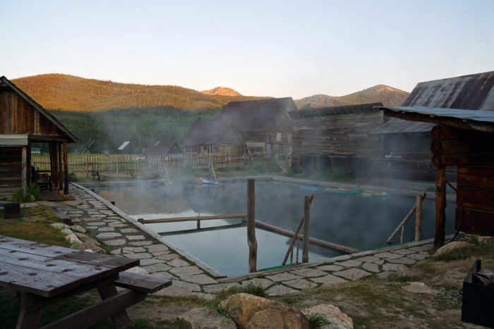 Steam rising off hot pools