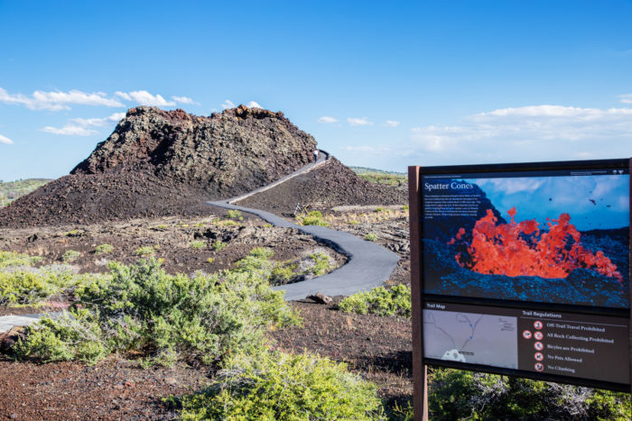 A trailhead sign at Craters of the Moon